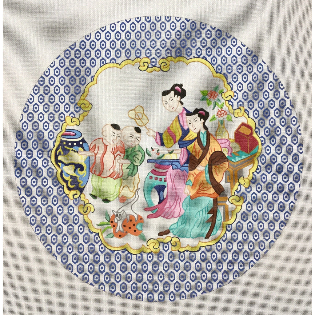 Chinese Family Two Boys Canvas - KC Needlepoint