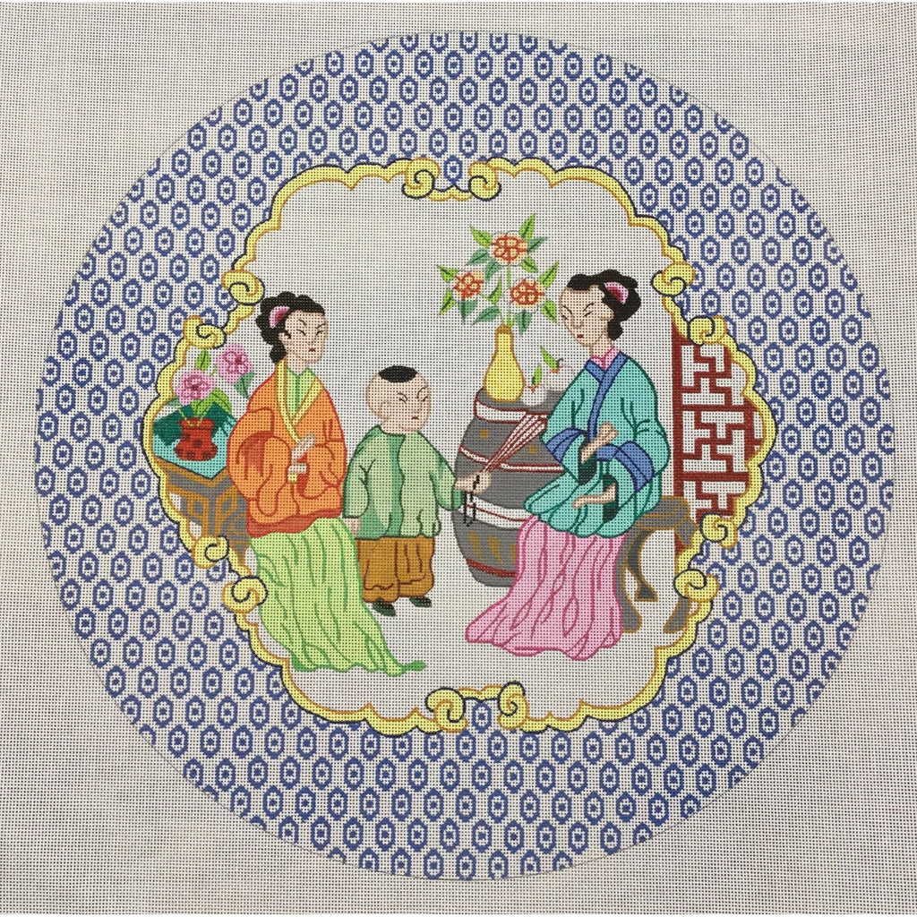 Chinese Family One Boy Canvas - KC Needlepoint