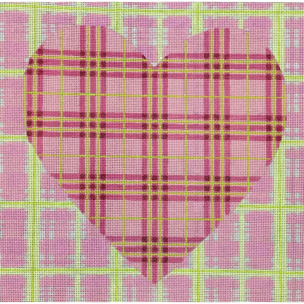 Double Madras Heart Square Canvas - KC Needlepoint