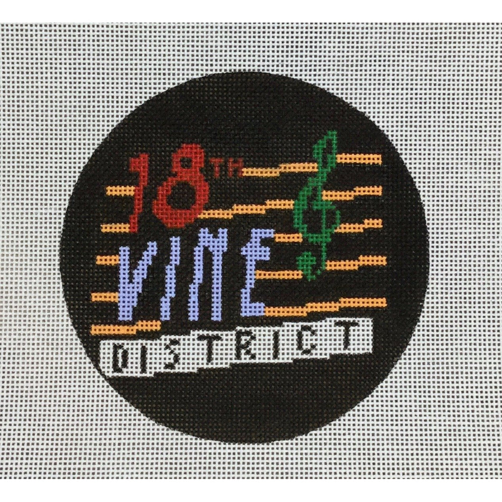 "18th Vine 4 1/2"" Round Canvas-Needlepoint Canvas-KCN Designers-KC Needlepoint"