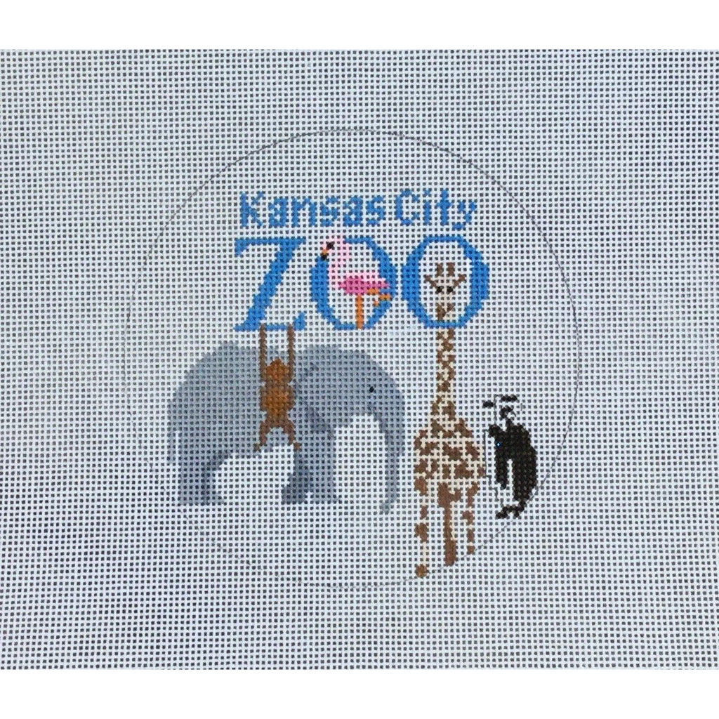 "Zoo 4 1/2"" Round Canvas-KCN Designers-KC Needlepoint"