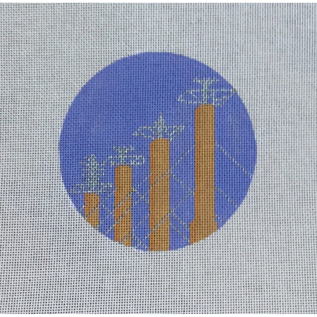 "Sky Stations 4 1/2"" Round Canvas-KCN Designers-KC Needlepoint"