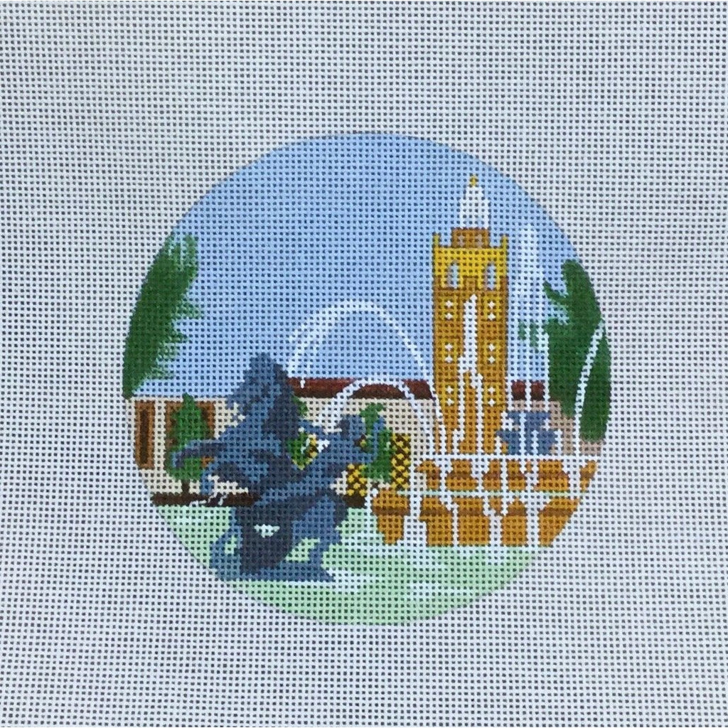 "Plaza Fountain 4 1/2"" Round Canvas-KCN Designers-KC Needlepoint"