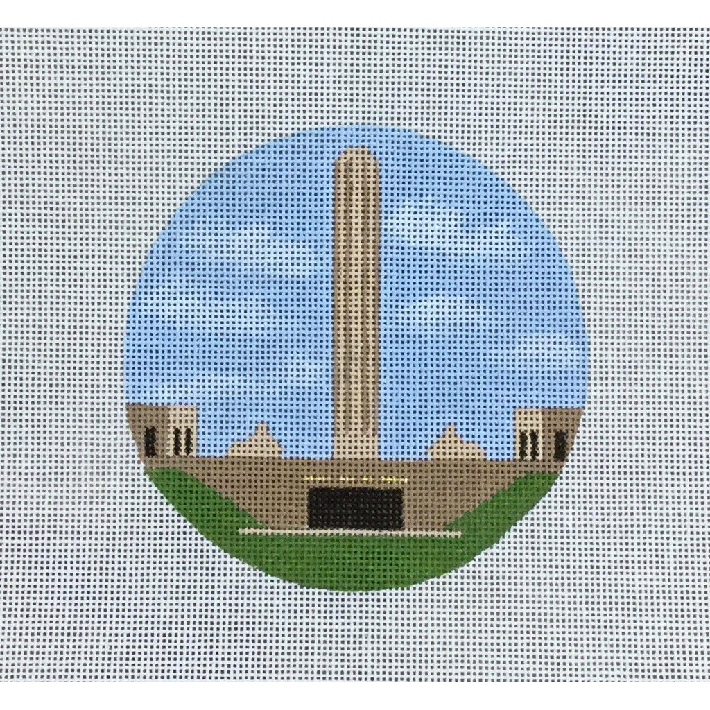 "Liberty Memorial 4 1/2"" Round Canvas-Needlepoint Canvas-KCN Designers-KC Needlepoint"