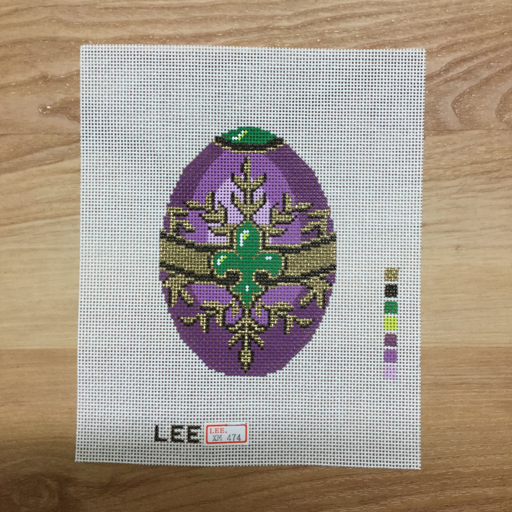 Purple Faberge Egg Canvas-Needlepoint Canvas-Lee Needle Arts-18 Mesh-KC Needlepoint