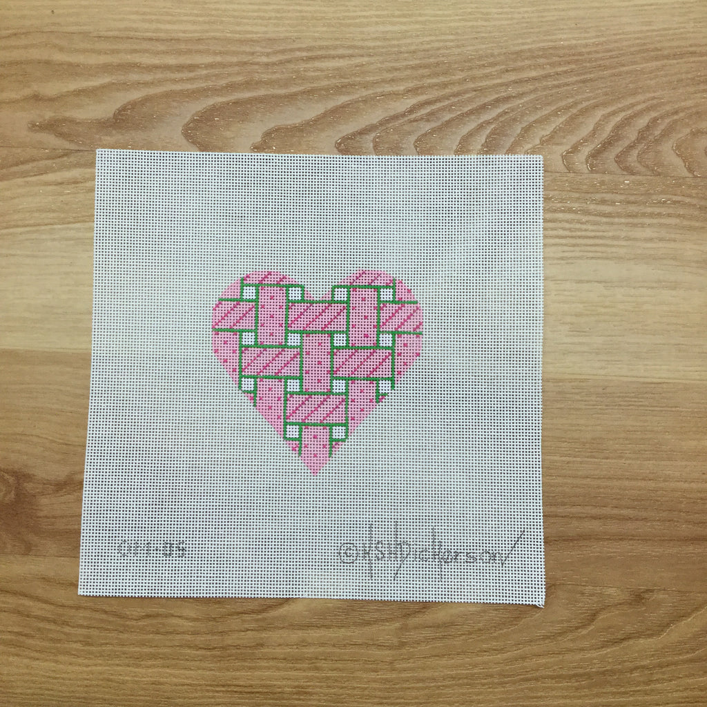 Mini Heart Woven Ribbon Canvas