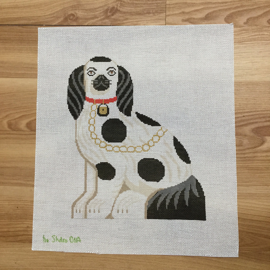 Staffordshire Dog Doorstop Canvas - needlepoint