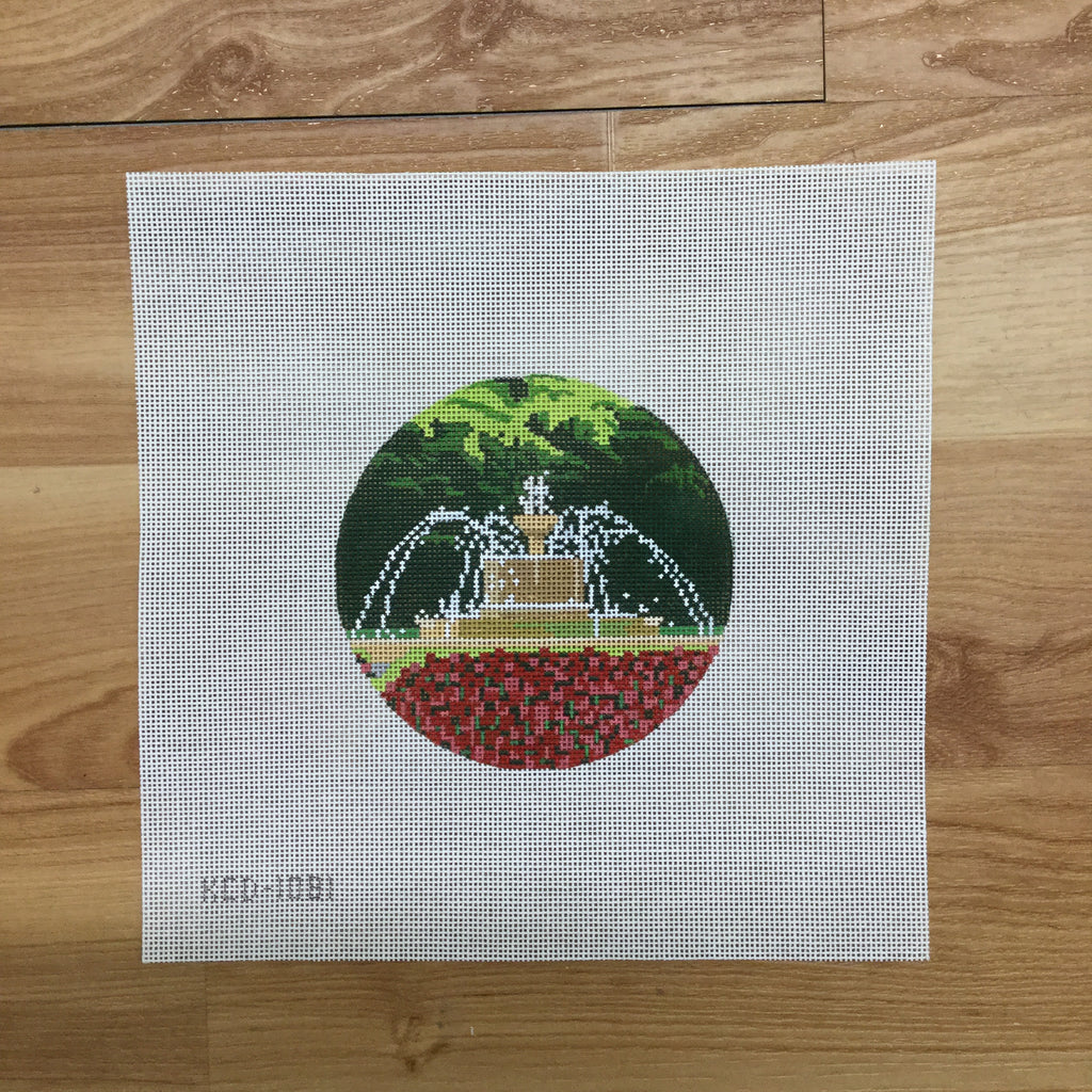 Chi Omega Fountain Canvas-Needlepoint Canvas-KCN Designers-KC Needlepoint