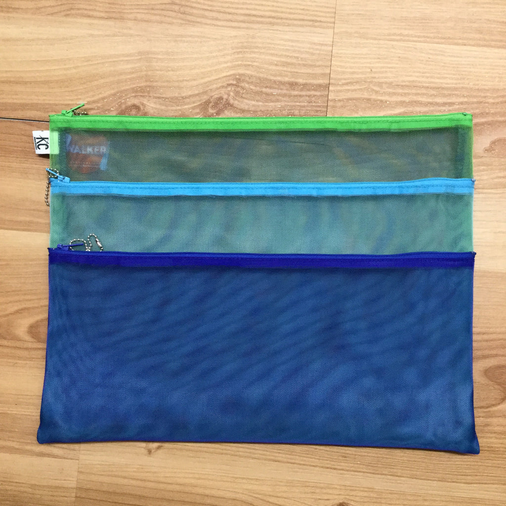 Walker 11x14 Triple Zip Bag-Accessories-Walker-Blue-Aqua-Green-KC Needlepoint