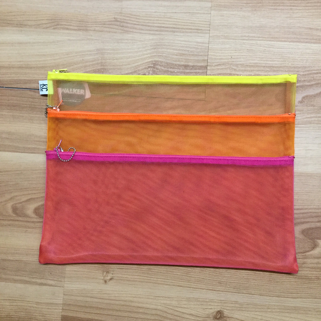 Walker 11x14 Triple Zip Bag-Accessories-Walker-Fuchsia-Orange-Yellow-KC Needlepoint