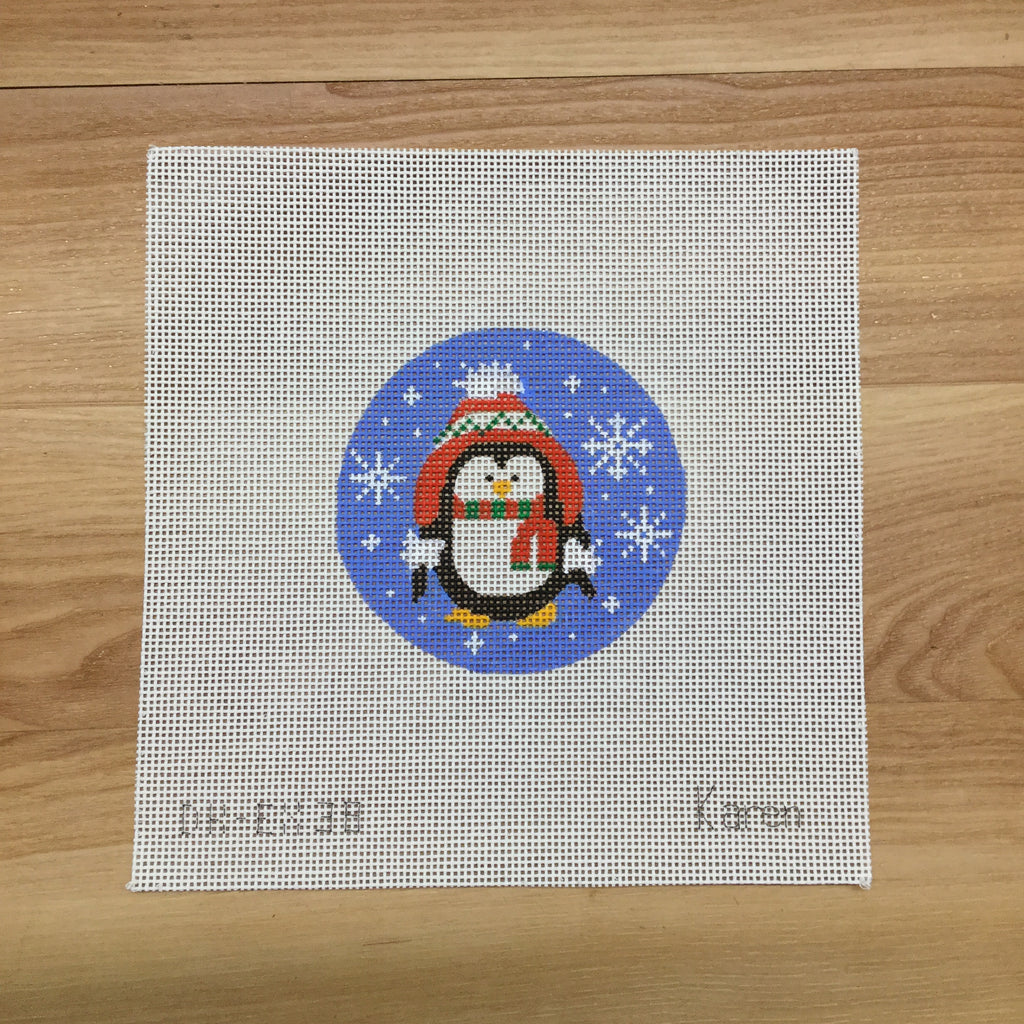 Penguin with Hat Canvas - needlepoint