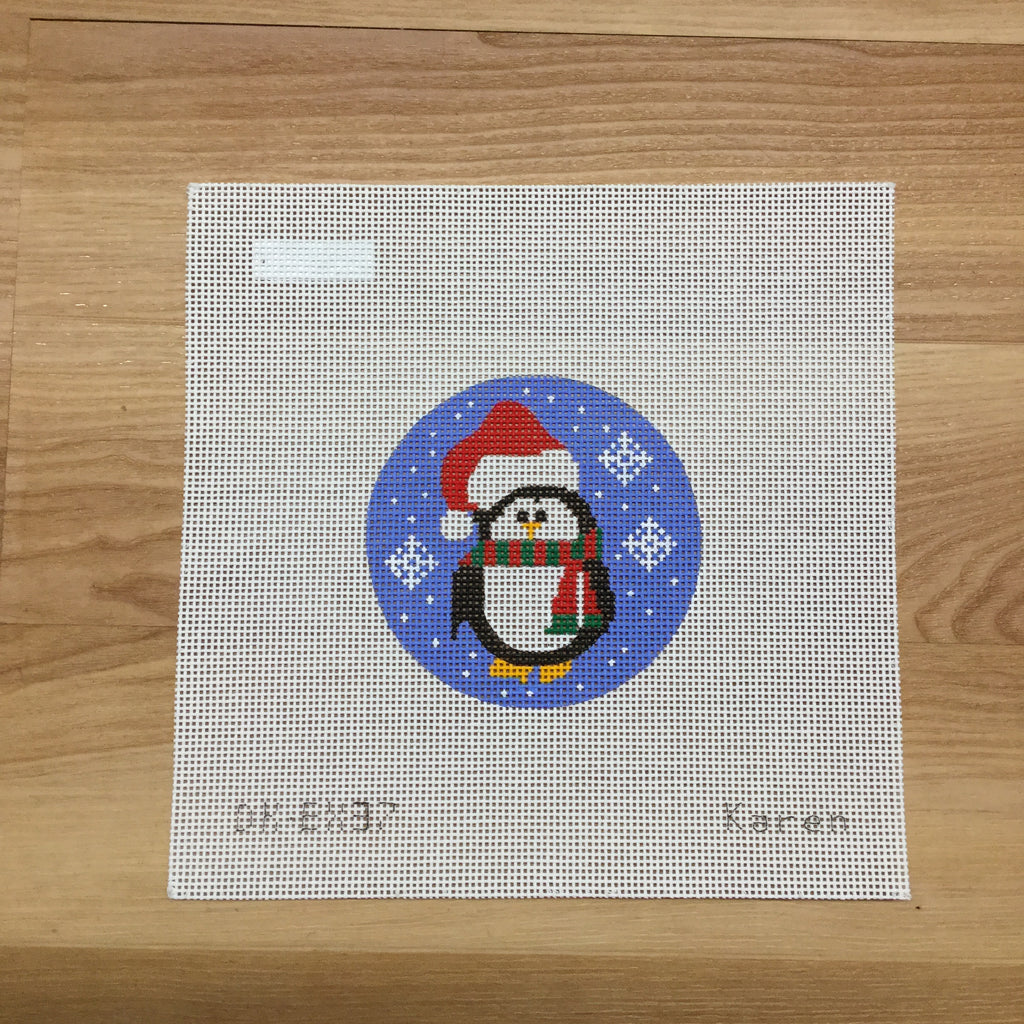 Penguin with Santa Hat Canvas - KC Needlepoint