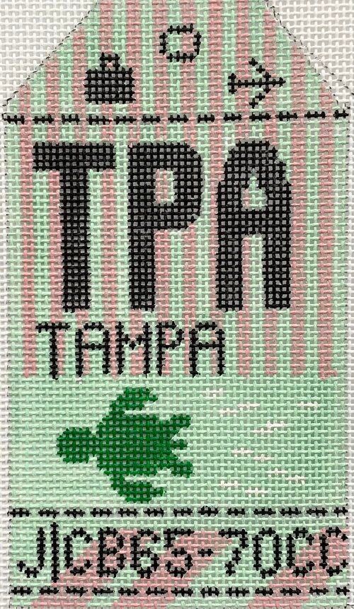 Tampa Vintage Travel Tag Canvas - needlepoint