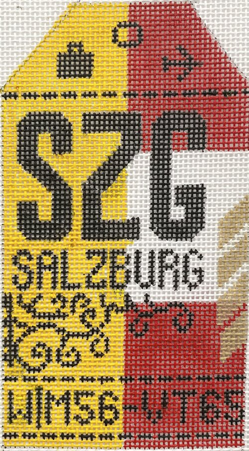 Salzberg Vintage Travel Tag Canvas - needlepoint