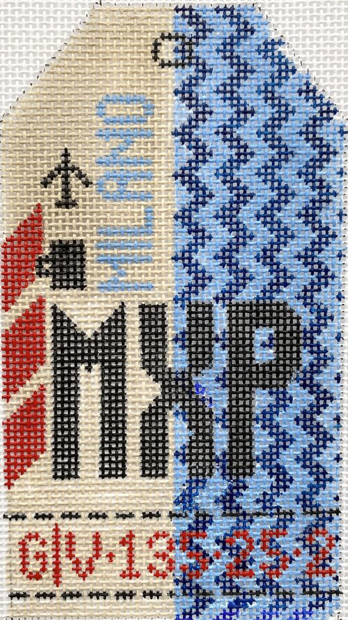 Milan Vintage Travel Tag Canvas - needlepoint