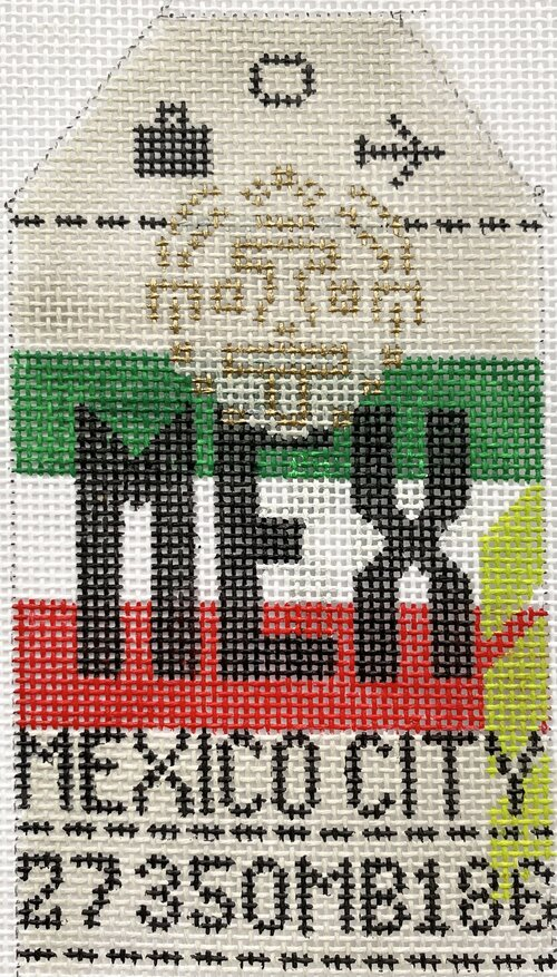 Mexico City Vintage Travel Tag Canvas - needlepoint