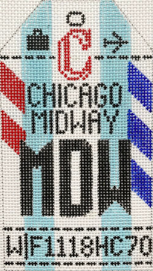 Chicago Midway Vintage Travel Tag Canvas - needlepoint