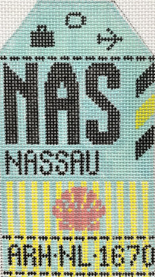 Nassau Vintage Travel Tag Canvas - needlepoint