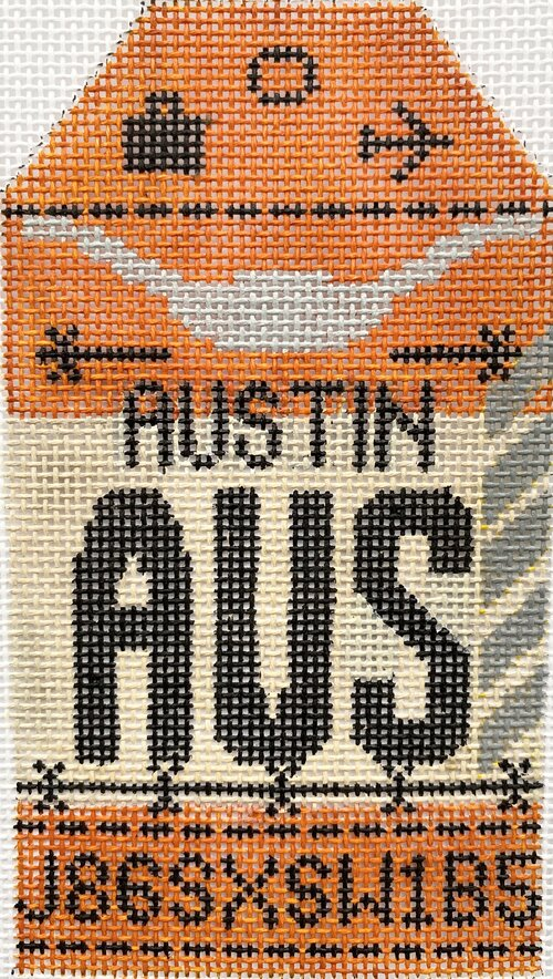 Austin Vintage Travel Tag Canvas - needlepoint