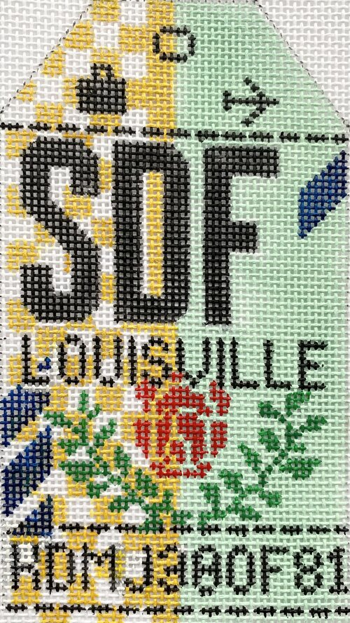 Louisville Vintage Travel Tag Canvas - needlepoint