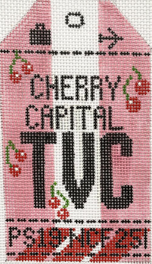 Cherry Capital Vintage Travel Tag Canvas - needlepoint