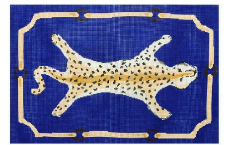 Leopard Clutch on Blue Canvas - needlepoint