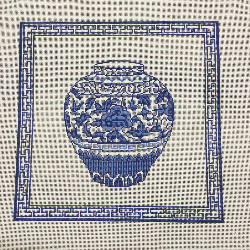 Blue Urn with Border-Needlepoint Canvas-KCN Designers-KC Needlepoint