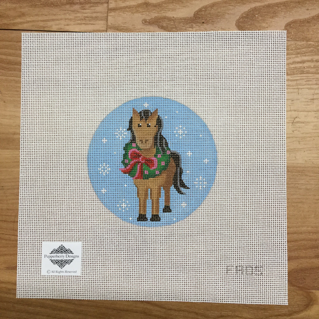 Horse with Wreath Ornament Canvas