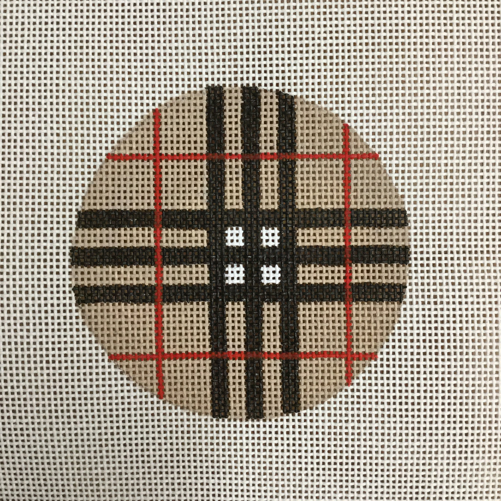 "Plaid 3"" Round Canvas - needlepoint"