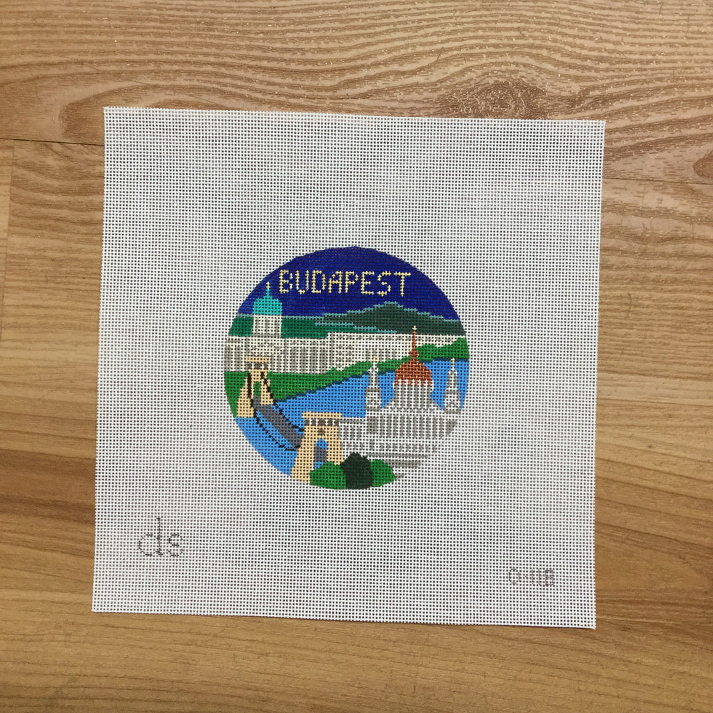 Budapest Travel Round Canvas - needlepoint