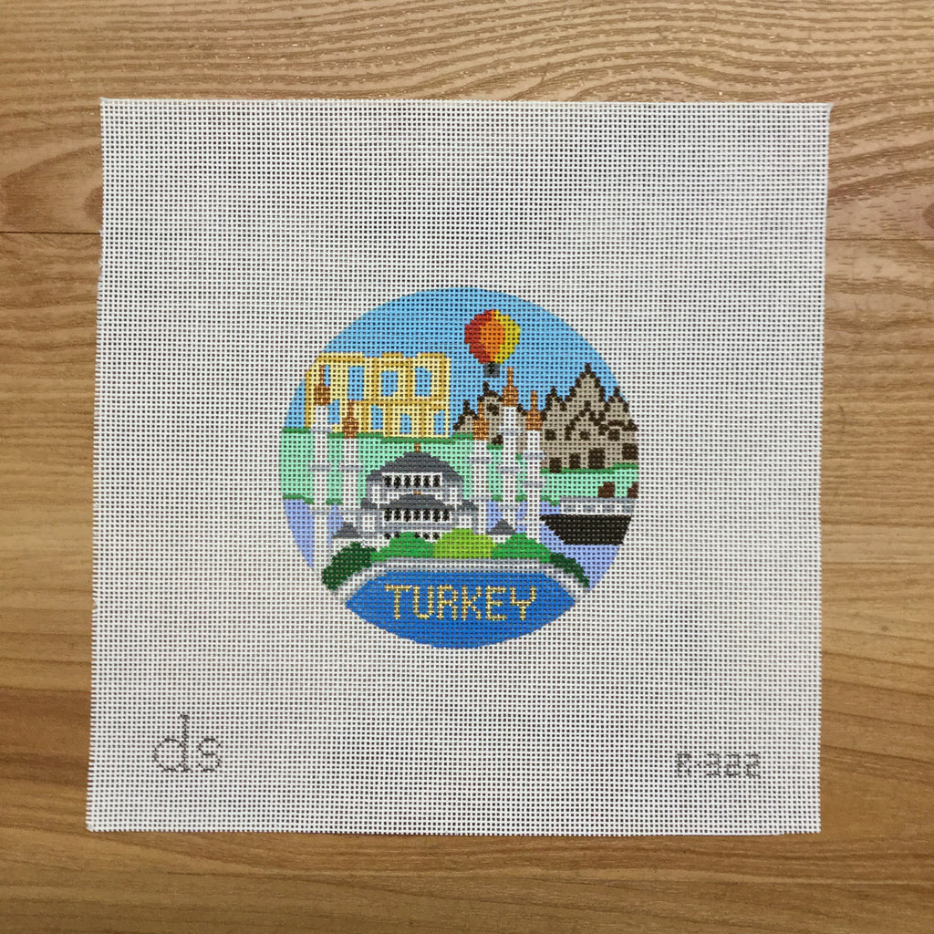 Turkey Travel Round Canvas - needlepoint
