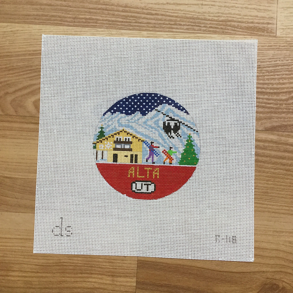 Alta Travel Round Needlepoint Canvas