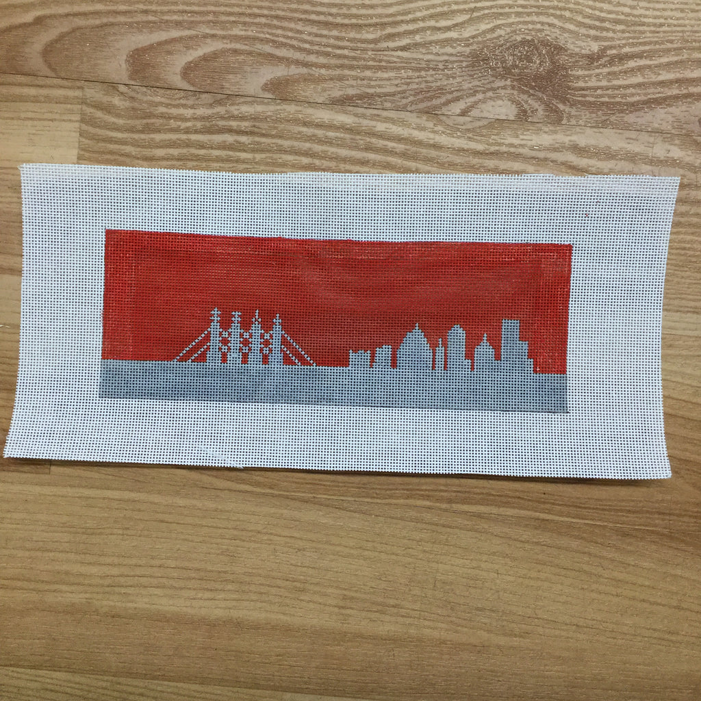 KC Skyline Wallet Canvas-Needlepoint Canvas-KCN Designers-Red/Gray-KC Needlepoint