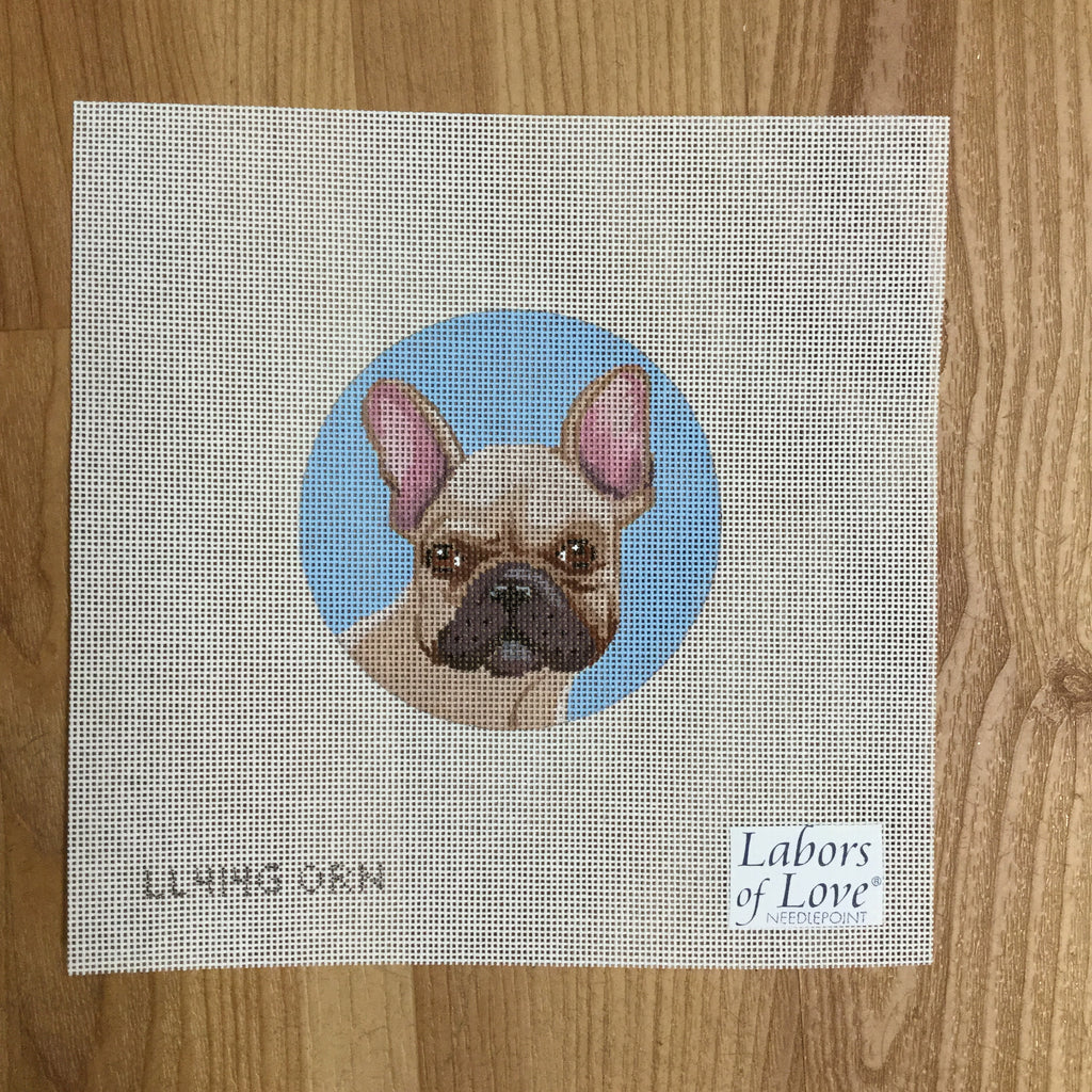French Bulldog Round Canvas - needlepoint