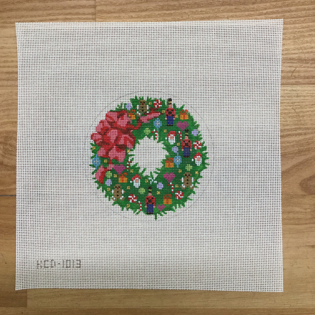Wreath Ornament Canvas - KC Needlepoint