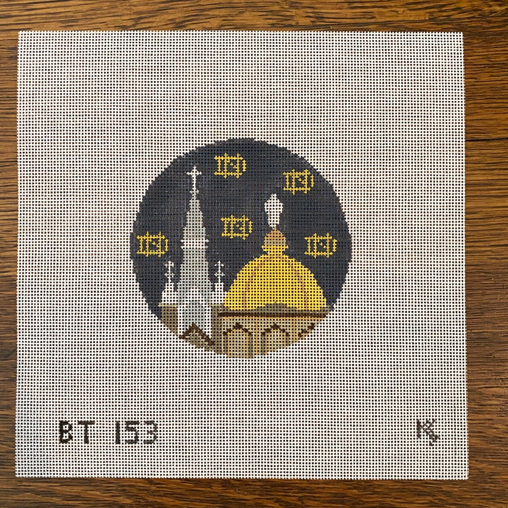 Notre Dame Round Canvas-Needlepoint Canvas-KC Needlepoint
