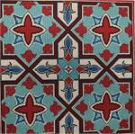 Red/Turquoise Tile Needlepoint Canvas - KC Needlepoint