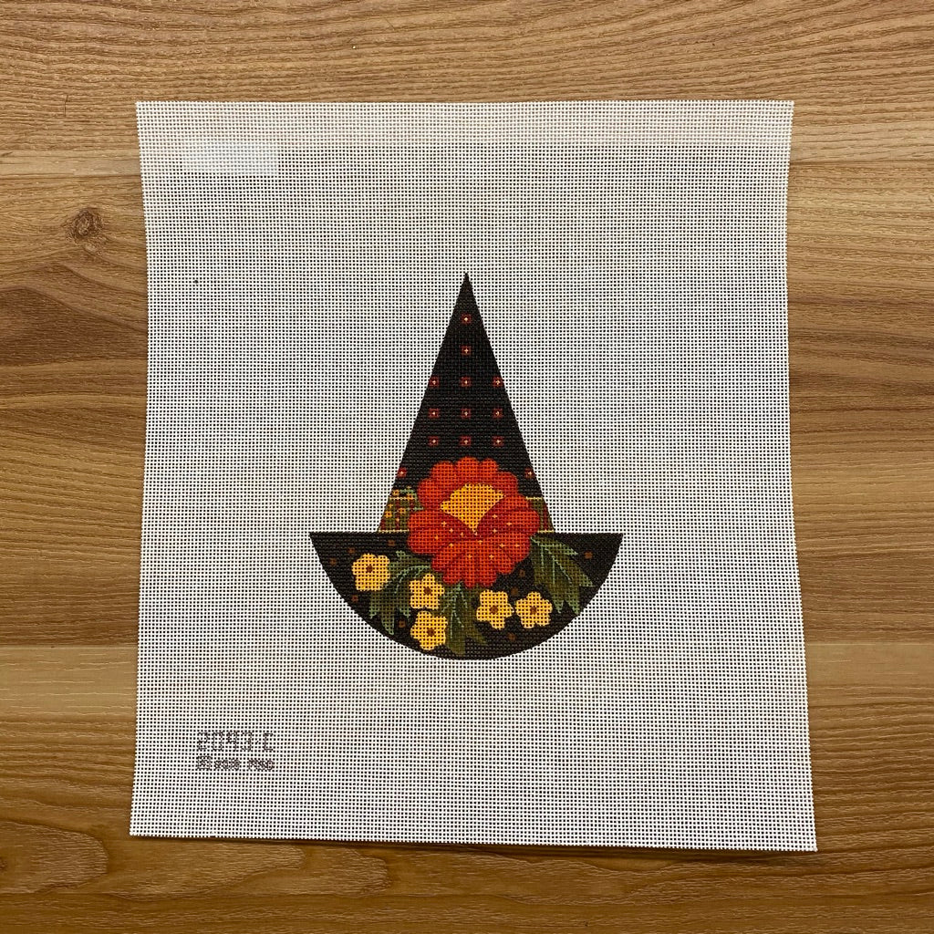 Big Red Flower Witch Hat Needlepoint Canvas - needlepoint