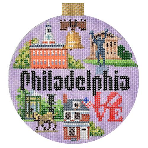 Philadelphia Travel Round Canvas-Needlepoint Canvas-Kirk & Bradley-KC Needlepoint