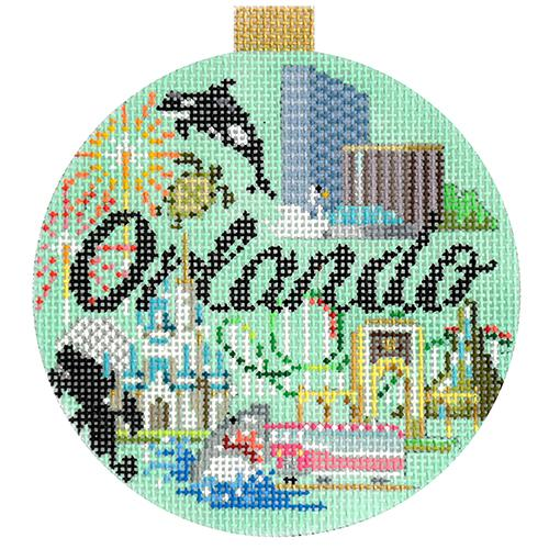 Orlando Travel Round Canvas-Needlepoint Canvas-Kirk & Bradley-KC Needlepoint