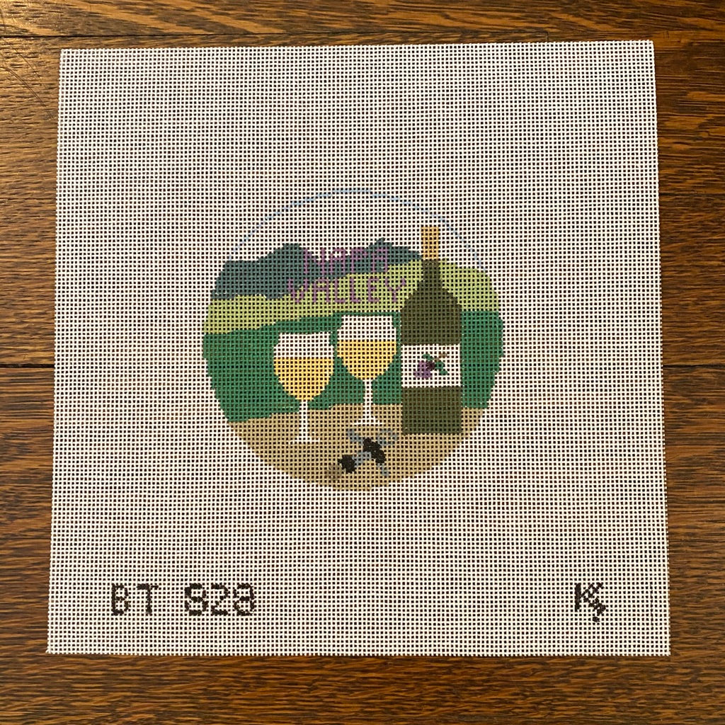 Napa Valley Travel Round Canvas-Needlepoint Canvas-KC Needlepoint