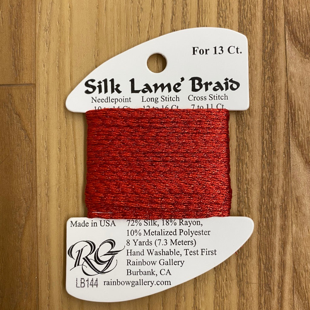 Silk Lamé Braid LB144 Christmas Red-Silk Lamé Braid-KC Needlepoint