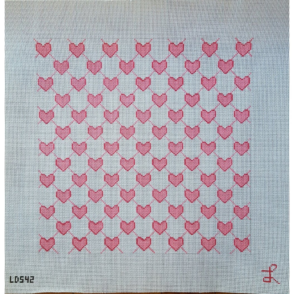Lattice Pink Heart Canvas - needlepoint