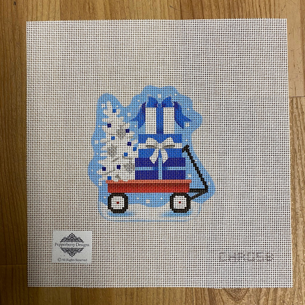 Lil' Blue Hannukkah Wagon Canvas-Needlepoint Canvas-KC Needlepoint
