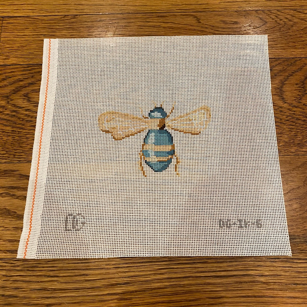 Turquoise Bee Scarab Canvas - needlepoint