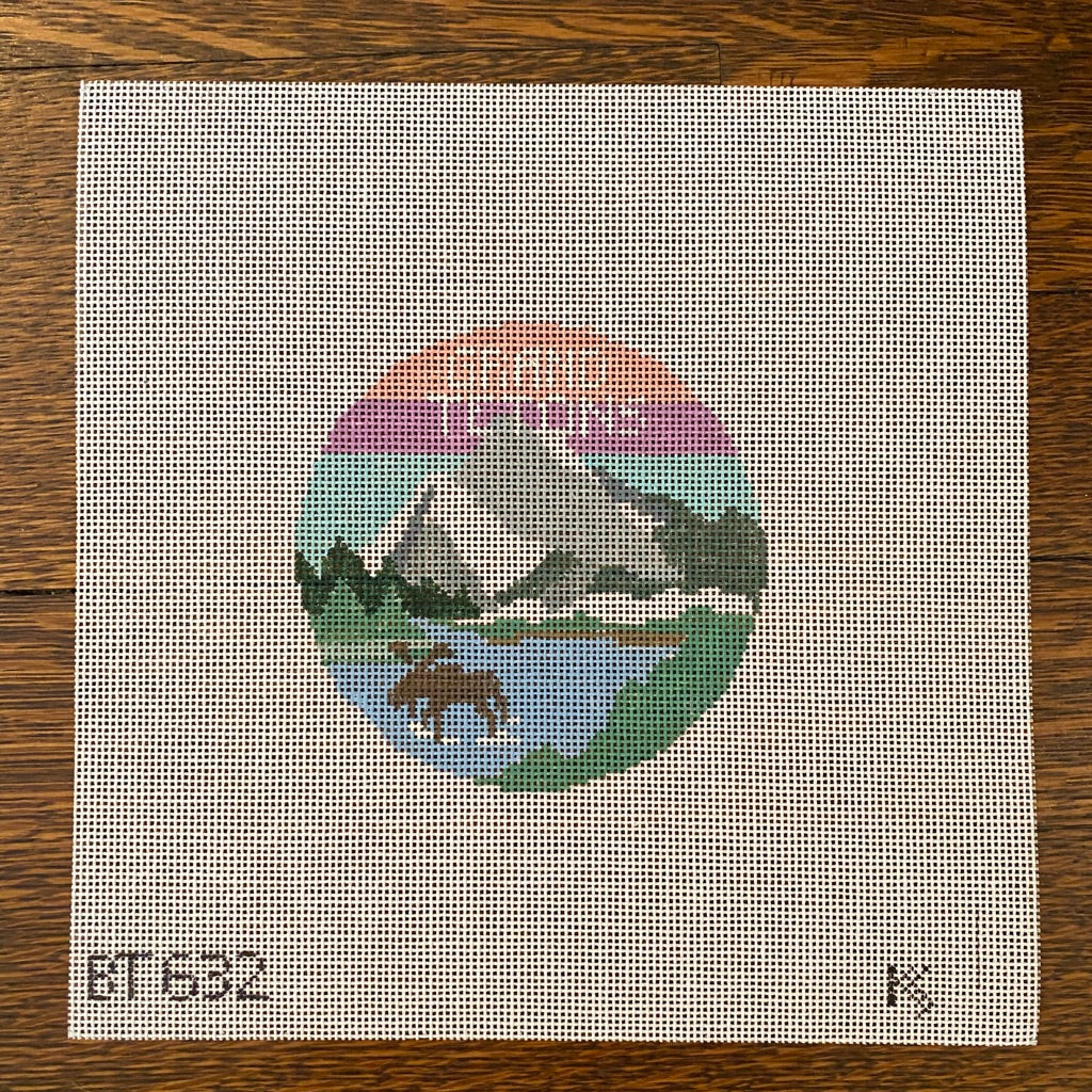 Grand Tetons Travel Round Canvas-Needlepoint Canvas-KC Needlepoint