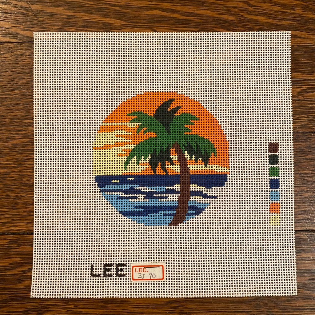 "Palm Tree 3"" Round Canvas-Needlepoint Canvas-KC Needlepoint"