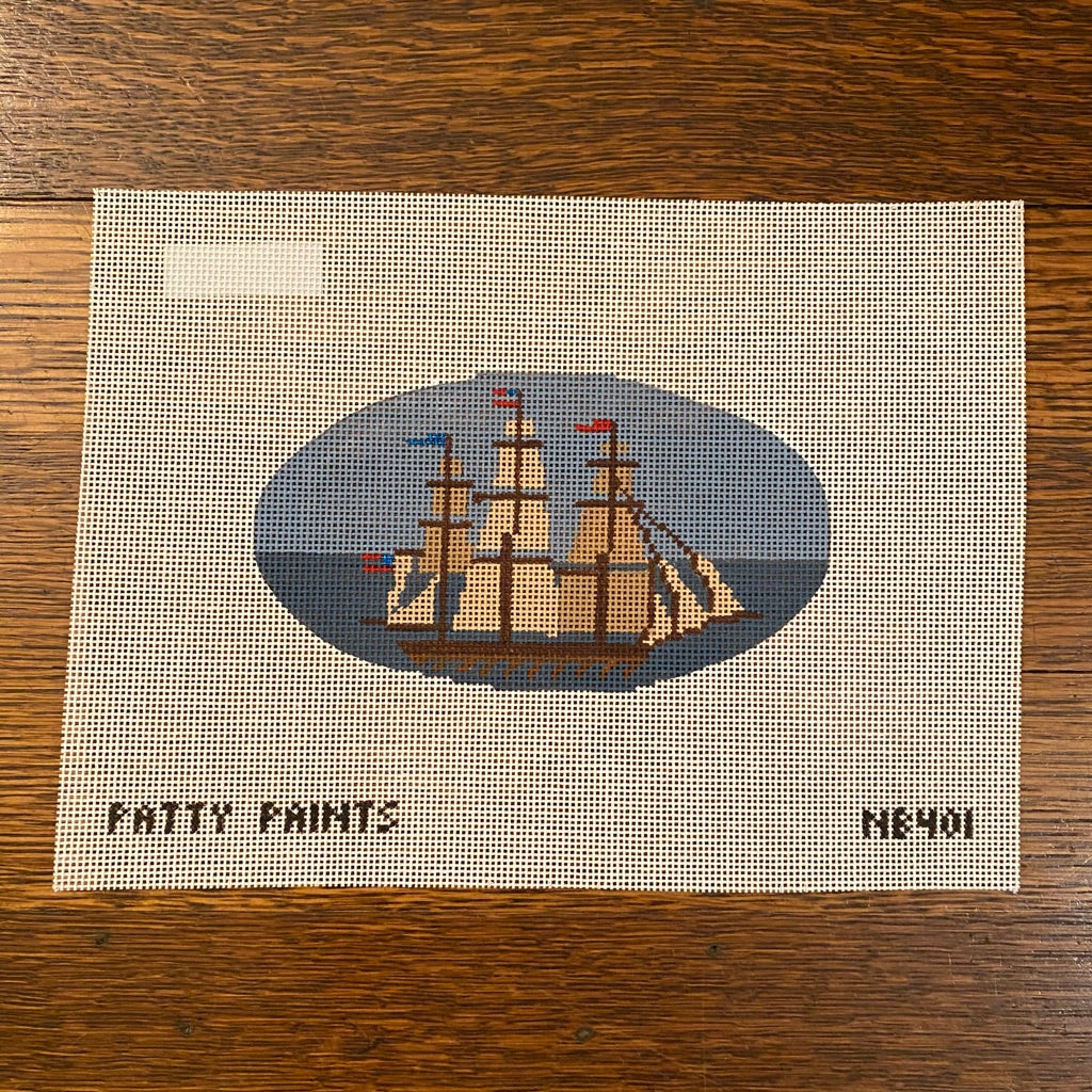 Ship Oval Canvas - needlepoint