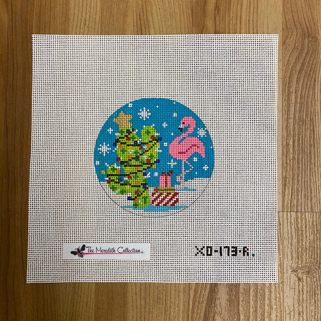 Flamingo Cactus Christmas Canvas - KC Needlepoint