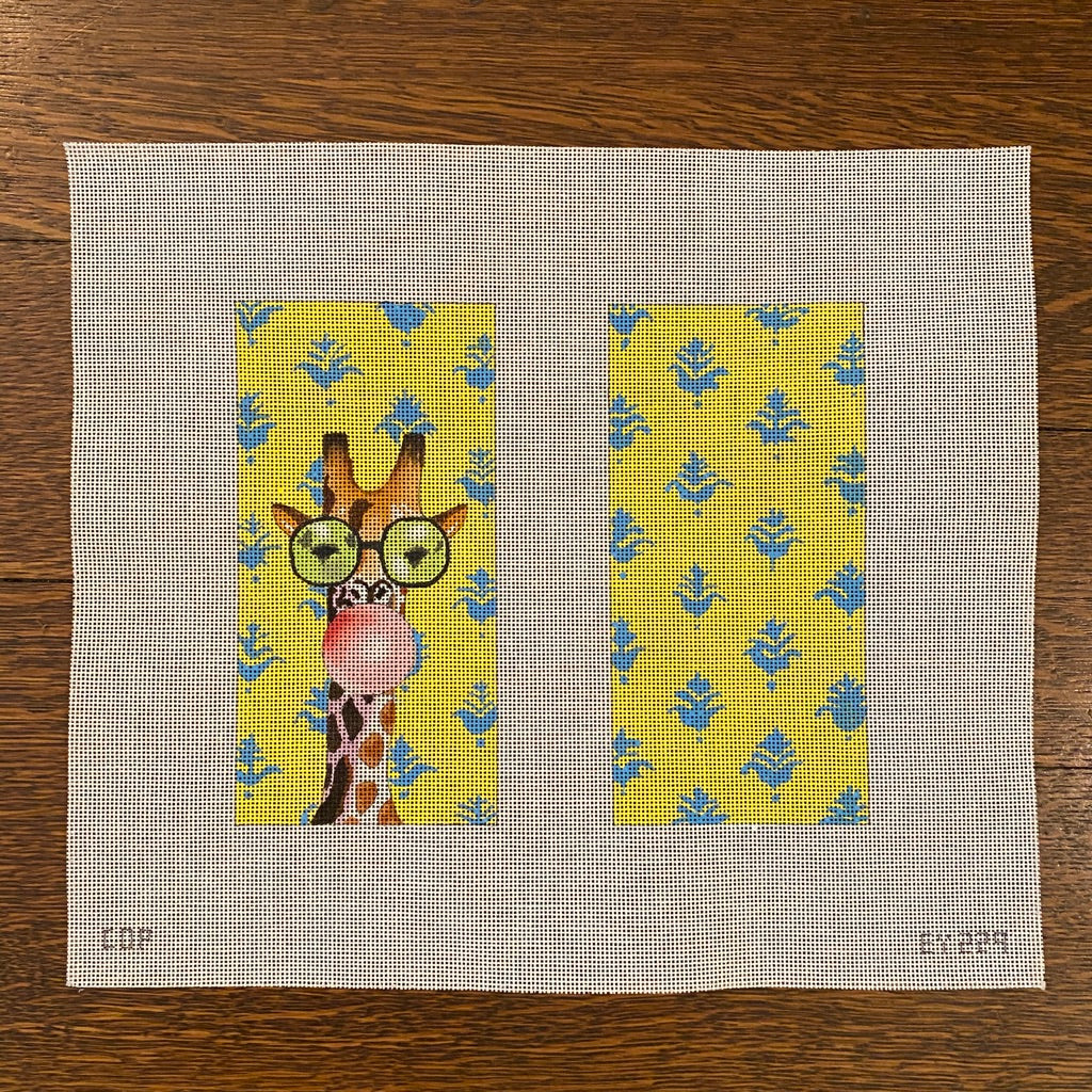 Giraffe with Bubble Gum Eyeglass Case Canvas - needlepoint